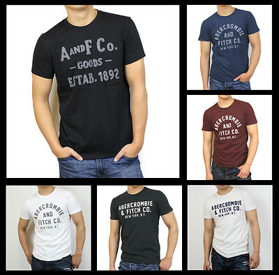 New Abercrombie Fitch A F By Hollister Men Applique Graphic Logo Tee Shirt Size