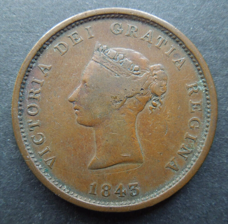 New Brunswick Canada 1843 One Penny Queen Victoria Copper Token Coin