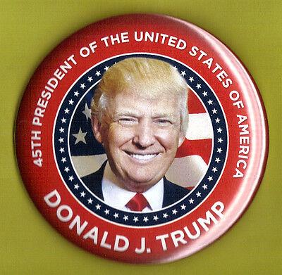 "2016 Donald Trump 3""(Large) / ""45th President"" Inaugural Button(Pin 10V)"