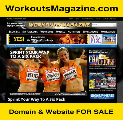 Workoutsmagazine.com -- Exercise Fitness Diet Website Business Domain For Sale