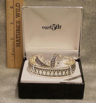 East 5th Silvertone 2 Pc Set Cuff Bracelet & Hoop Earrings Harlequin Pattern