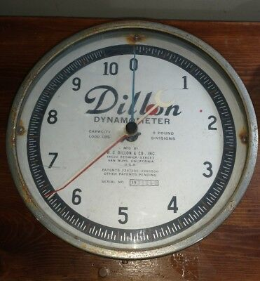 Dillion Dynamometer 1000 Lb Vintage 10 Inch Dial