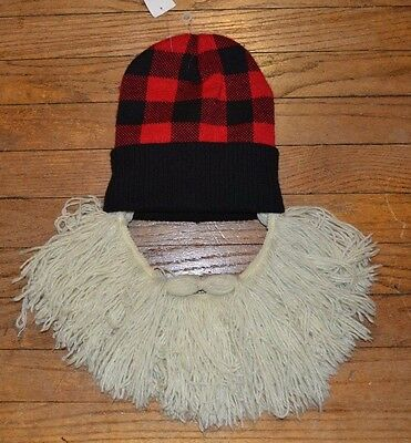Beard Hat Viking Vagabond Barbarian Beanie with Beard Winter Halloween Costume  - Viking Hat Beard