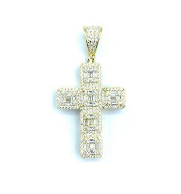 Sterling Silver 925 Yellow Gold Plated Cross Pendant Baguette Cubic Zirconia CZ Baguette Cubic Zirconia Cross Pendant