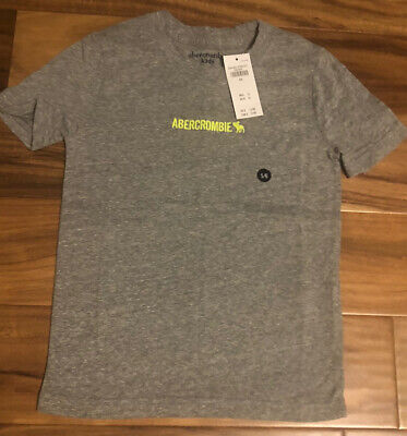 NWT Abercrombie Fitch Kids Boy Short Sleeve Soft Cotton Top 5/6 Gray Embroidered