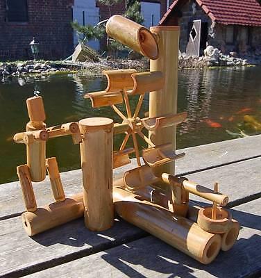 Wasserlauf Brunnen Wassermühle Holz Kaskaden Höhe 32cm Wasserfall Gartenteich