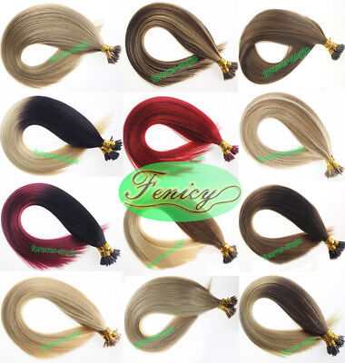 Double Drawn Remy Human Hair Stick I Tip Pre Bonded Keratin Hair Extensions 1g/s ()