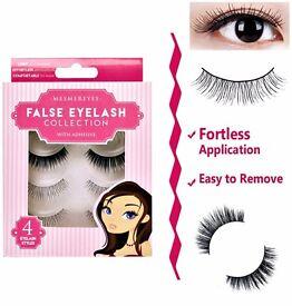 4 Pairs Makeup Long Soft False Adhesive Eyelashes Eye Lashes Extension Natural