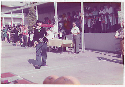 Vintage 80s PHOTO Person Woman? In Charlie Chaplin Halloween Parade - Halloween Charlie Chaplin