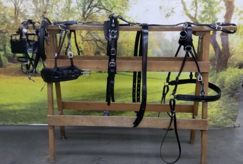 NEW Amish made Granite horse, mule, haflinger size buggy harness slotted  tugs