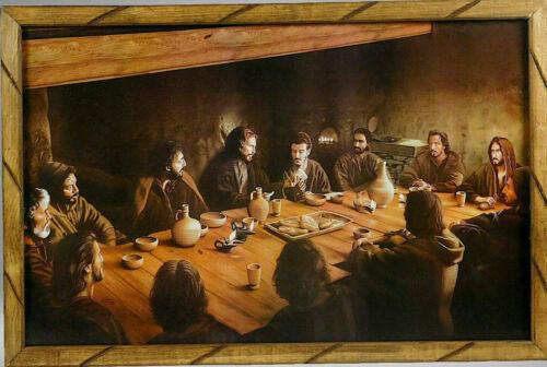 """Ultima Cena Antigua #1 Imagen Cuadro Madera 24""""x36"""" Last Supper Picture Frame"""
