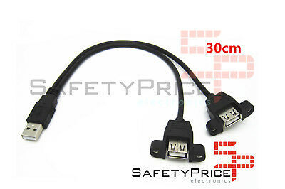 Cable alargador usb 30cm macho a doble hembra montaje panel extensor SP