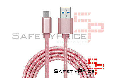 CABLE USB-C ALUMINIO TRENZADO MÓVIL TABLET TIPO C 1m ROSA NYLON RGA...