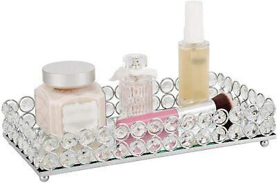 Home Mirrored Crystal Vanity Cosmetic Perfume Bottle Tray Organizer Decorative