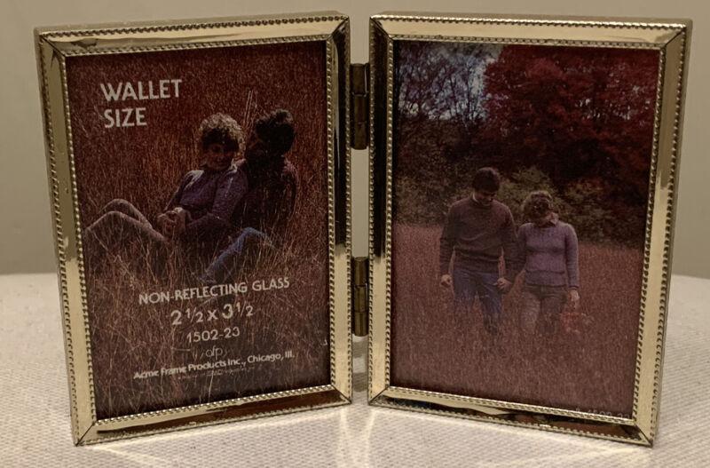 "Vintage Acme Gold tone tiny/small decorative 2.5"" X 3.5"" double photo frame"