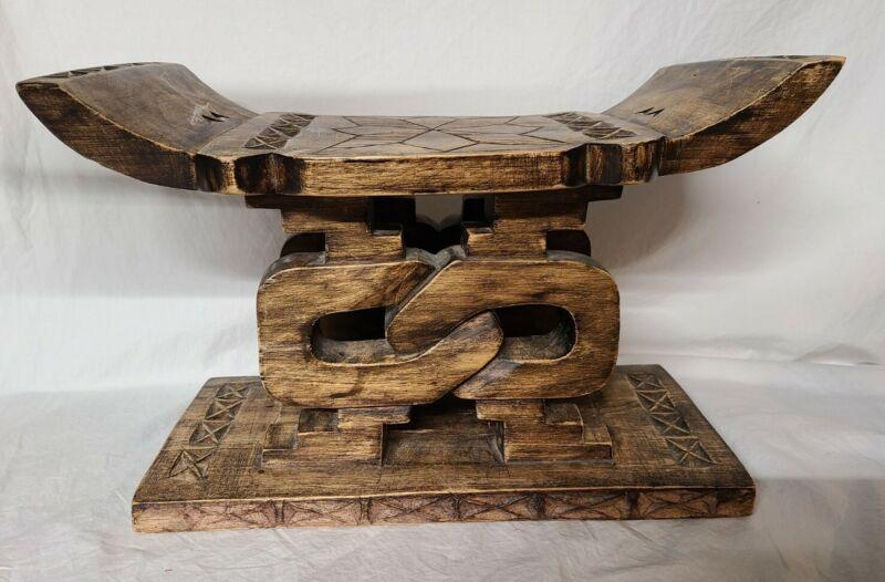 WOOD FOOT STOOL Throne Chair Bench Sese AFRICAN Ashanti Ghana Sculpture ART