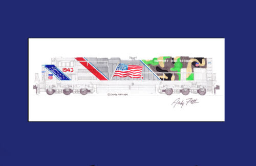 """Spirit of Union Pacific SD70AH #1943 11""""x17"""" Matted Print Andy Fletcher signed"""