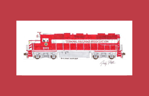"""Terminal Railroad of St. Louis GP38-3 11""""x17"""" Matted Print Andy Fletcher signed"""