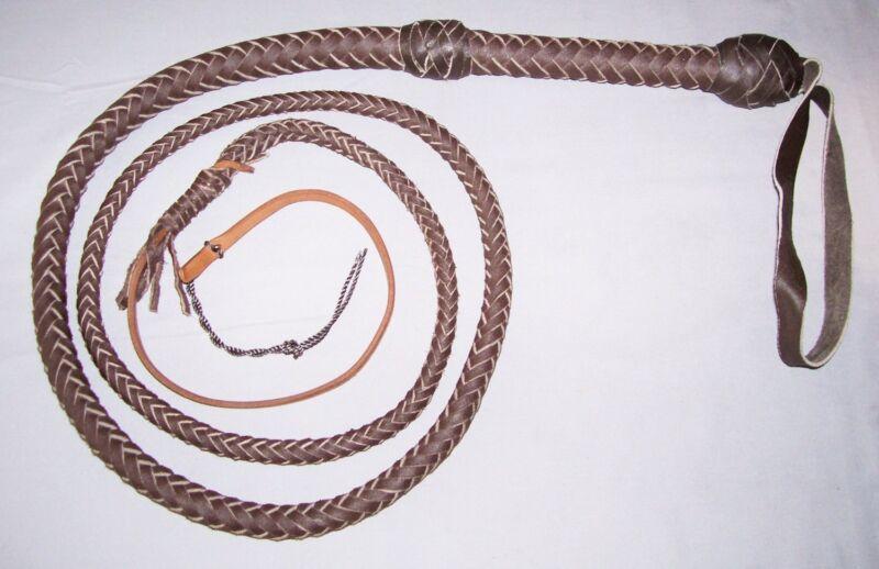 6 Foot 12 Plait  DARK BROWN INDIANA JONES STYLE BULLWHIP ( Leather Bull Whip )