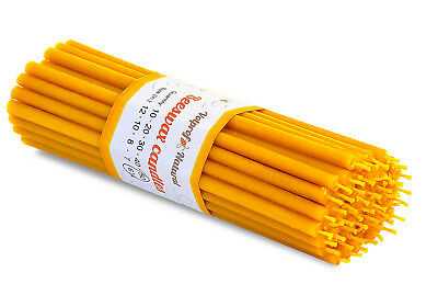 50 Natural 100% Pure Beeswax Taper Candles ( 6) Natural Honey Scent