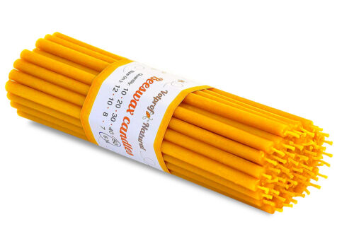 """50 Natural 100% Pure Beeswax Taper Candles ( 6"""") Natural Honey Scent"""