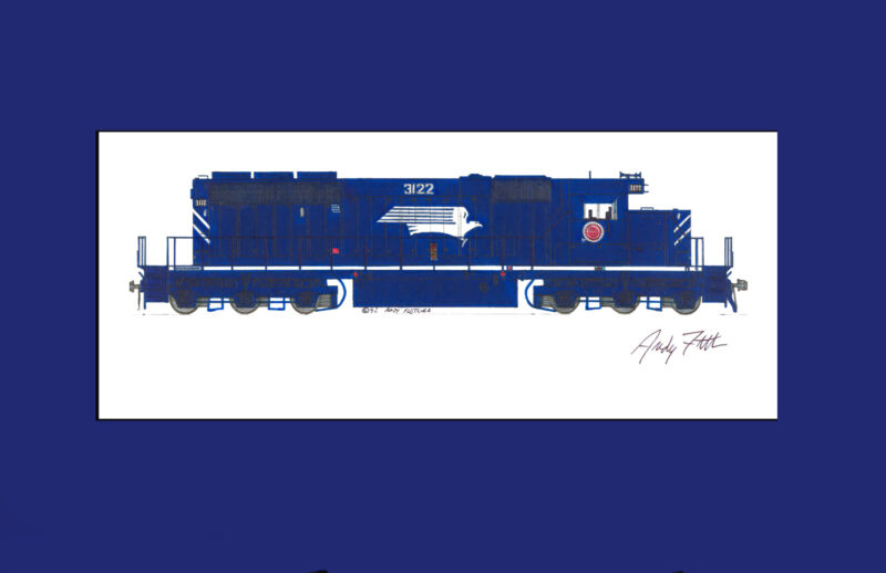 """Missouri Pacific SD40-2 11""""x17"""" Matted Print by Andy Fletcher signed"""