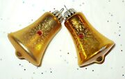 Vintage Christmas Ornaments Glass Gold