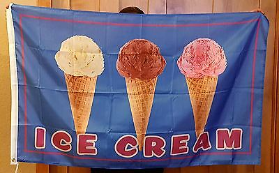 3x5ft Ice Cream Concession Stand Restaurant Banner Brass Grommets