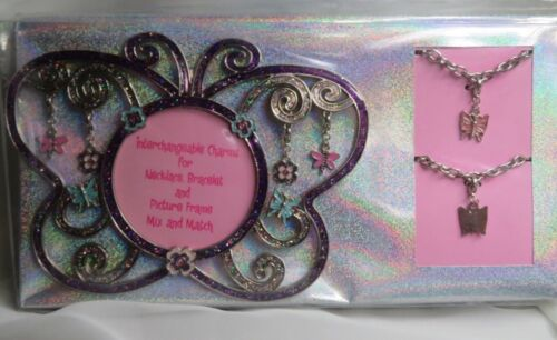 Girls Butterfly Picture Photo Frame Bracelet Necklace Charms Set NEW