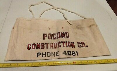Vintage Pocono Construction Co Advertising Hardware Store Nail Apron