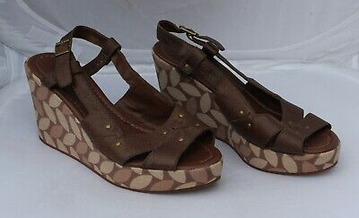 Next Brown Leather Wedge Sandals Size 6