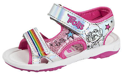 Girls Trolls Sports Sandals Princess Poppy Holographic Glitter Shoes Kids Size