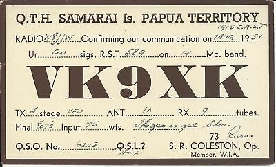 OLD VINTAGE VK9XK SAMARAI ISLAND PAPUA TERRITORY AMATEUR RADIO QSL CARD