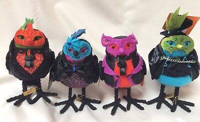 2018 Halloween Hyde Eek Collection Fabric MASKED BIRDS Target Decor LOT of 4 Set (Target Halloween Masks)