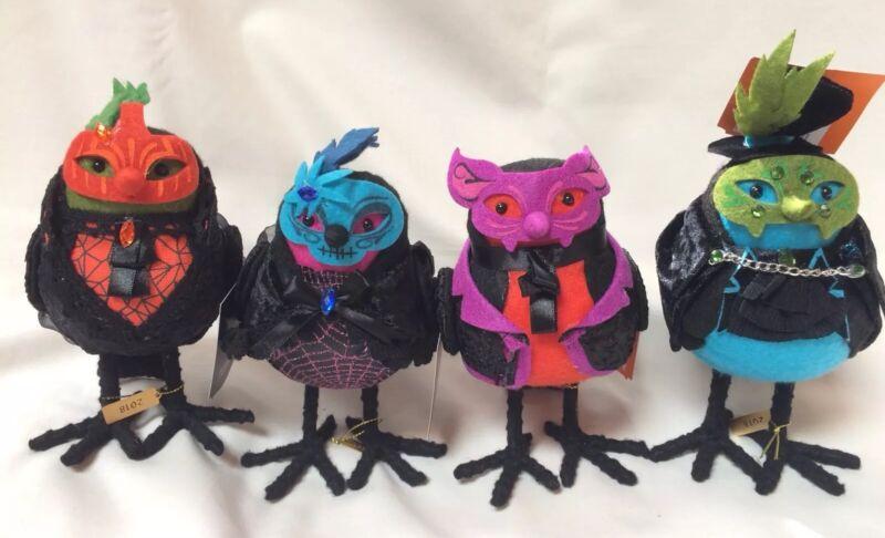 2018 Halloween Hyde Eek Collection Fabric MASKED BIRDS Target Decor LOT of 4 Set