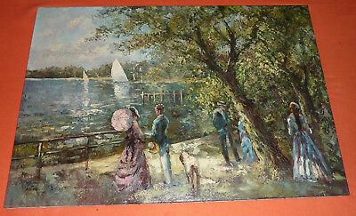 Spaziergang auf der Promenade am See Gemälde Neo-Impressionismus NP 3.000 DM