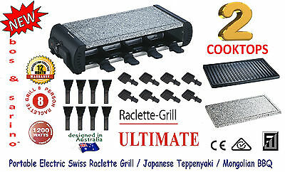 Raclette Haloumi Grill BBQ 2 Cooking Surfaces Big 8 Person Capacity SUPREME