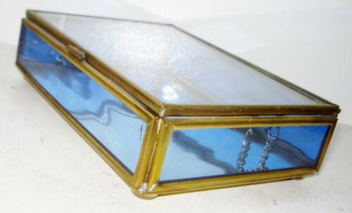 VINTAGE ENESCO MEXICO COBALT BLUE GLASS TRINKET BOX BRASS DESIGN NR