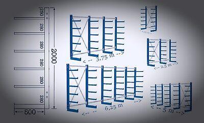 Kragarmregal einseitig,Schwerlastregal,Langgutregal,Regal für 6,25m Länge.NEU