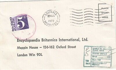 GB SOUTHALL 1972 POSTAGE TO PAY COVER  .Rfno.PD33.