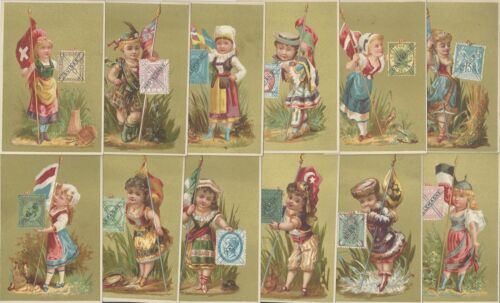 Partial set of 12  VICTORIAN TRADE CARDS International Flags & Postage Stamps