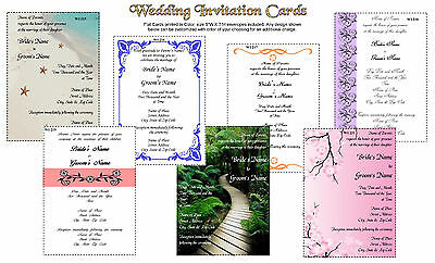 50 Wedding Invitation Cards size 5X7 Printed in Color with Envelopes Invitation Envelope Size