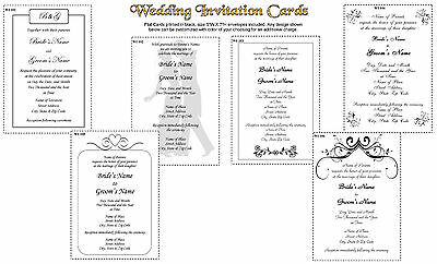 50 Wedding Invitation Cards size 5X7 Printed in Black with Envelopes Invitation Envelope Size