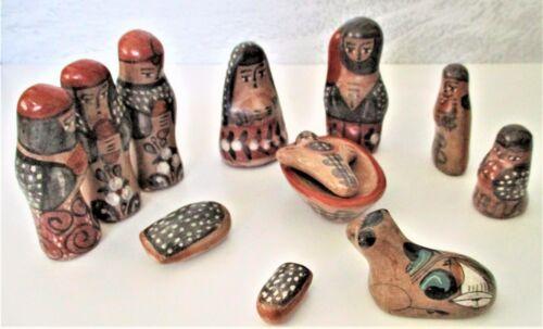 Vintage Tonala Burnished Pottery Nativity Mexican Folk Art Set 12 Pieces
