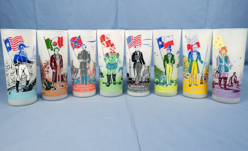 Lot 8 VTG Texas Under Flags Glass Tumblers C.E. Knox Oil Company Gas Station
