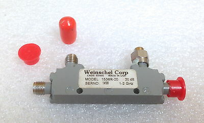 Weinschel 1536r-20 1 To 2 Ghz 20 Db Sma F-f-f Miniature Directional Coupler