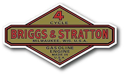 """Vintage Briggs & Stratton Gasoline Oil Small Engine 5"""" X 3"""" sticker decal"""