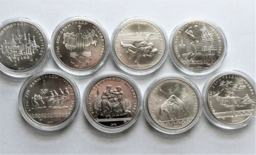 Russia 1980 Moscow Olympics 10 Rouble Silver BU Coins. Lot of 8.