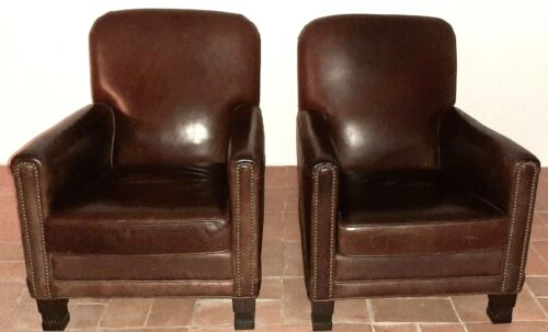 "Leather Chairs French Club ""Humpback"" Vintage 1940"