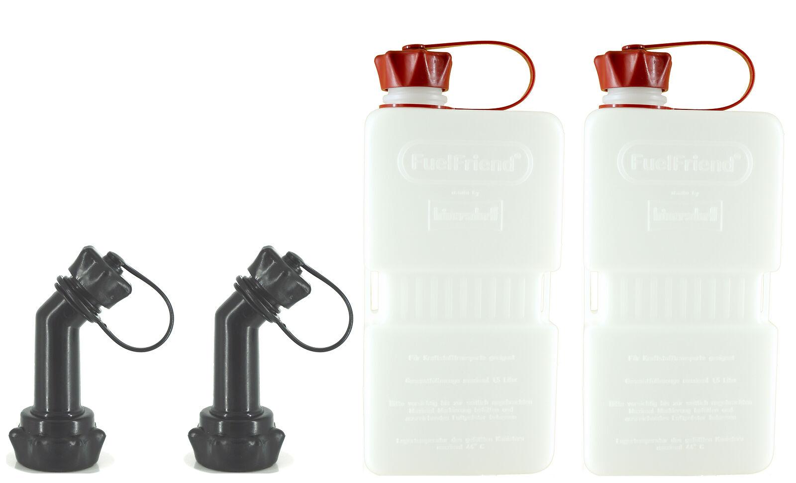 2x Fuelfriend® Plus Clear 1,5 Liter Mini-benzinkanister + Füllrohr Verschließbar 4